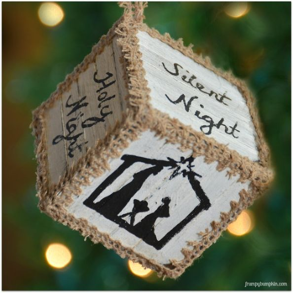 DIY Christmas Pallet Block Ornaments