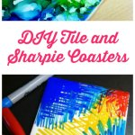 Diy Tile Coasters Painted With Sharpies For An Abstract Effect