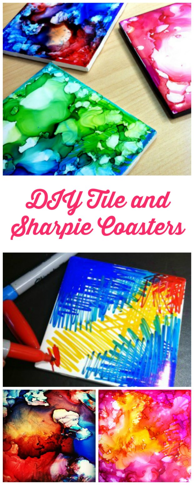 Sharpies, alcohol and a white tile are all you need to make these marbled art coasters.
