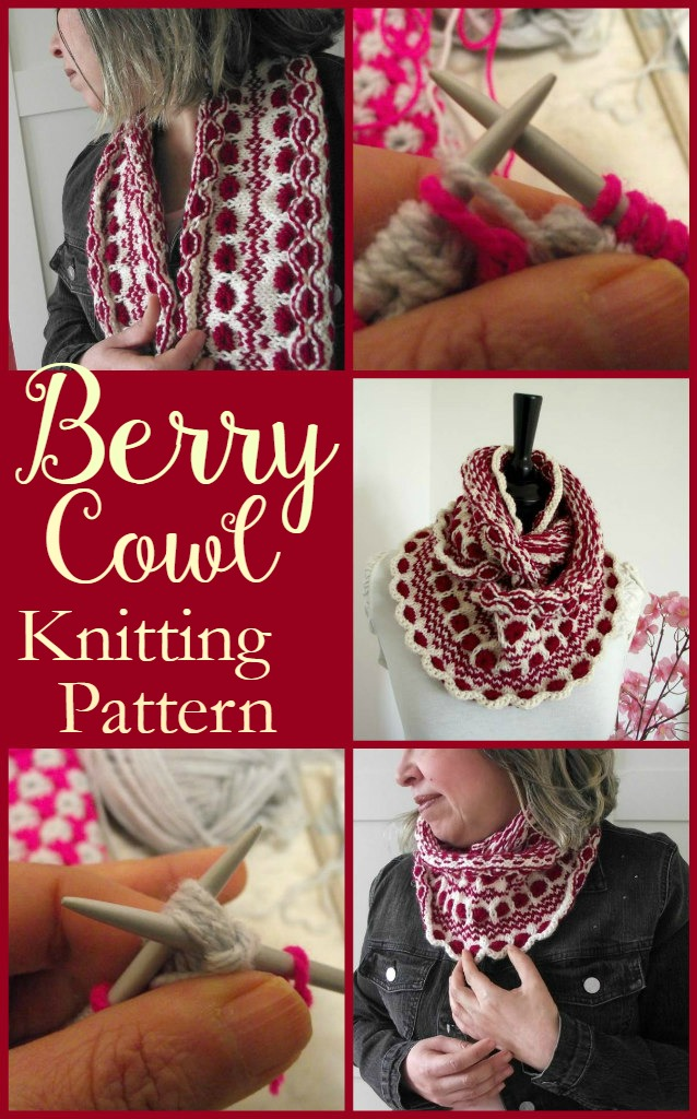 Pretty cowl knitting pattern. Fair Isle knitting pattern, I like the scalloped edge on this knitted cowl pattern.