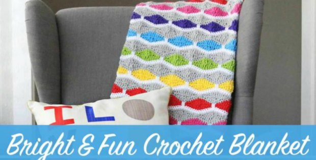 Use this free crochet pattern to create this bright and fun afghan. Whether you're making a baby blanket for a friend or you just want a something to drape over your favorite chair, you'll love this crochet pattern. Instructions given to make this blanket in any size.
