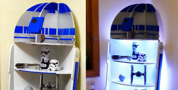 Plans for a DIY Star Wars R2D2 shelf with lights to build.