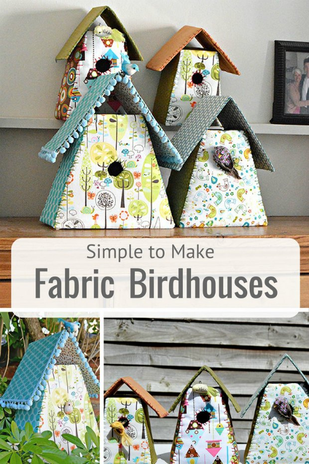 How to make these fabric covered birdhouse decorations for your home. Mini ones would look good in a row on the mantel or also pretty for a kids or baby's room.