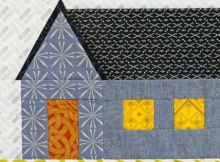 Free paper piecing pattern for a gabled house.