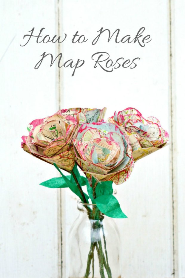 How to make these gorgeous map roses. Pick out the good bits from old tattered maps and atlases and wow, these roses are so pretty.