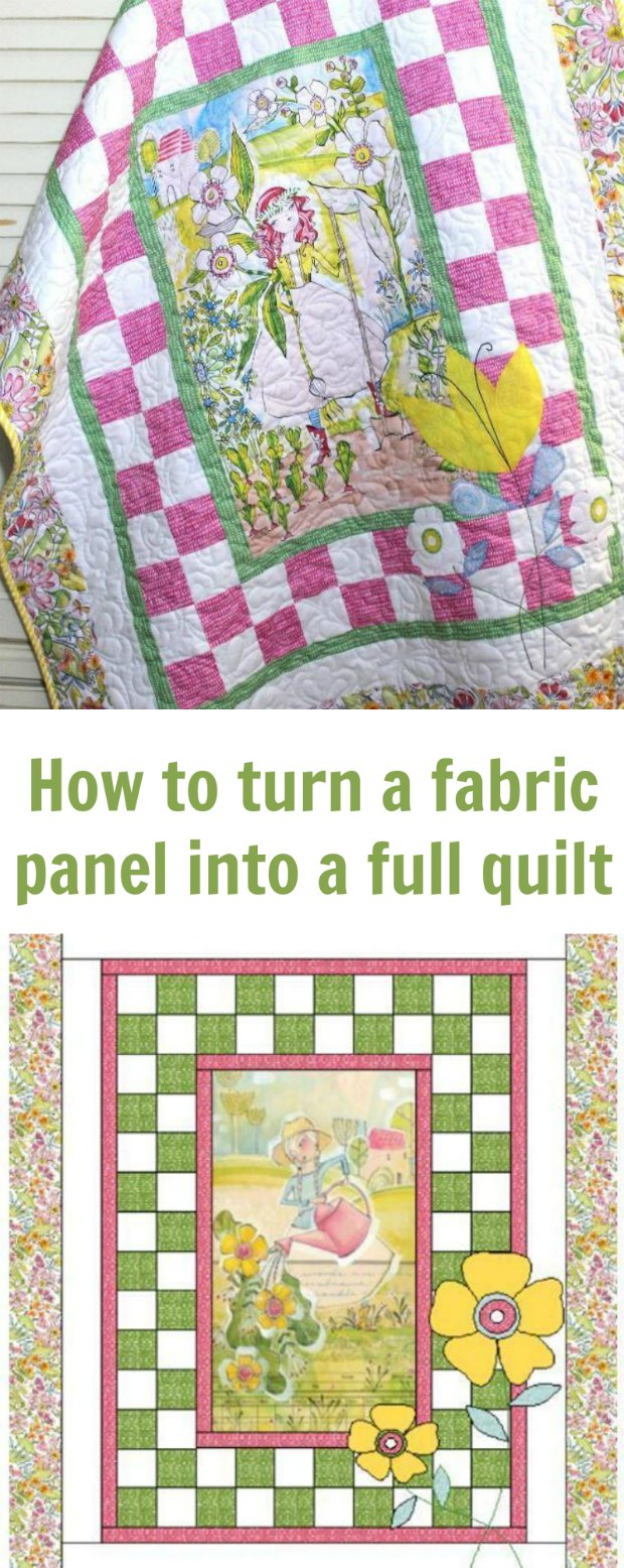 how to turn a full fabric panel into a full quilt. Very easy instructions and pattern, ideal for beginners and your first quilt top.
