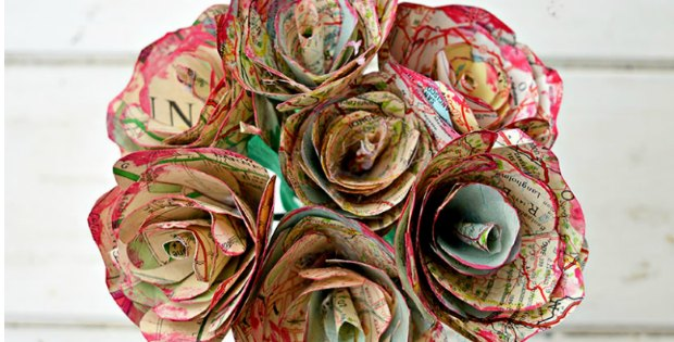 old maps recycled into roses and flowers
