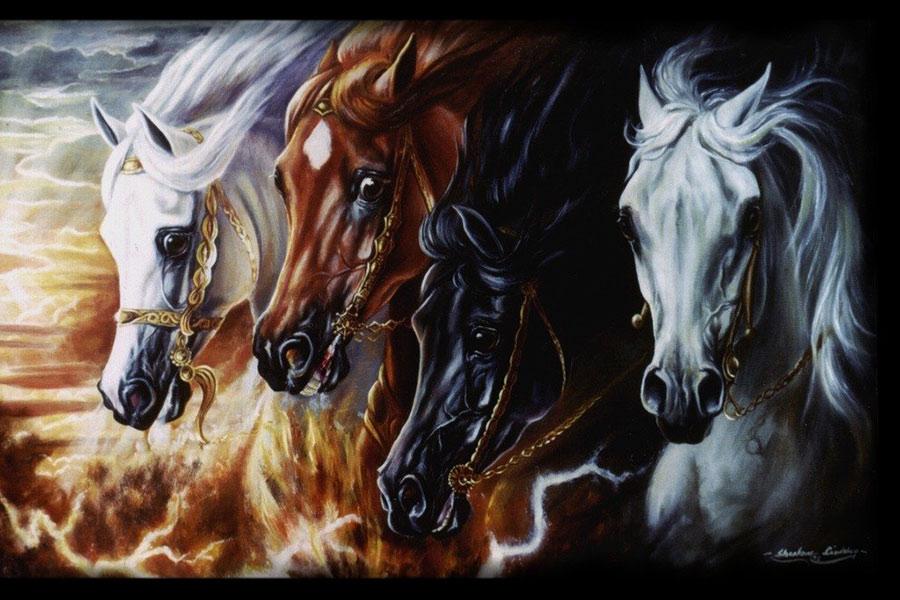 Cztery konie apokalipsy - haft krzyżykowy