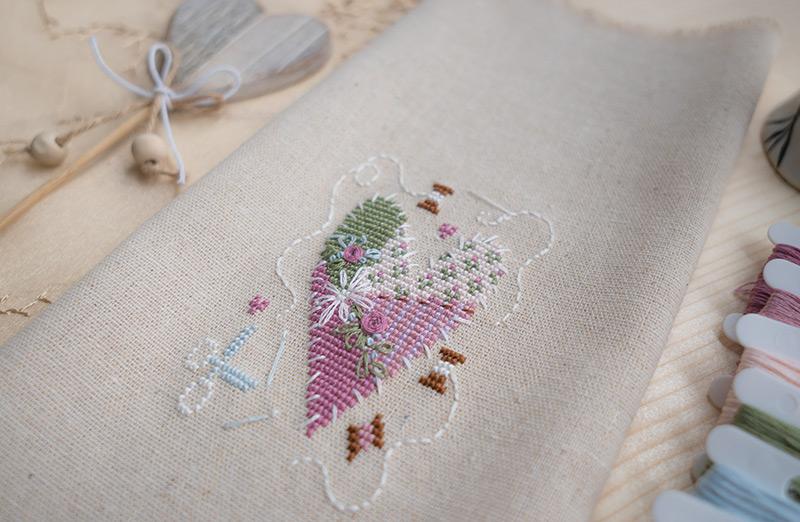 Serce na Walentynki, haft krzyżykowy - Kanwa - len z aliexpress