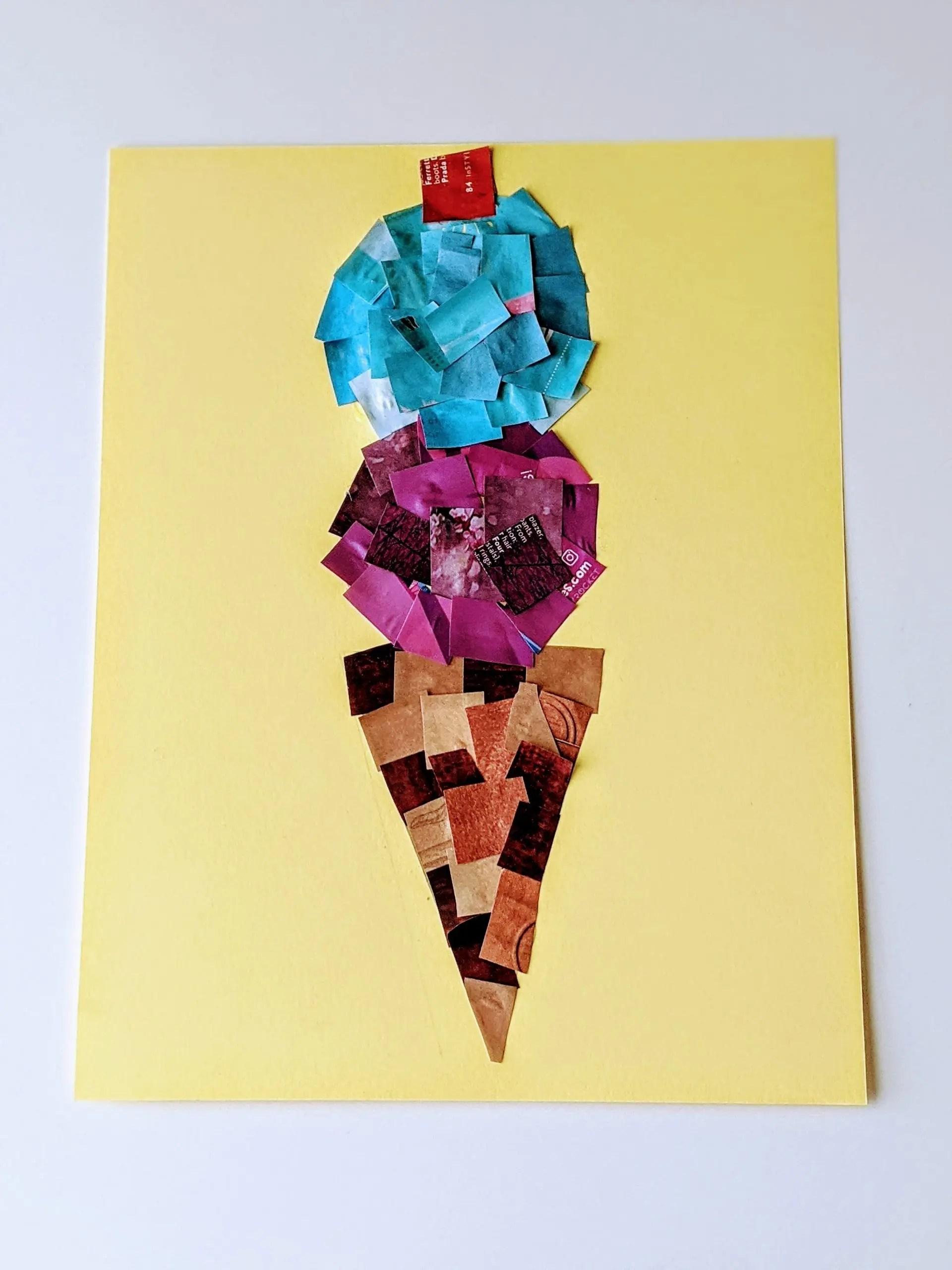 magazine collage ice cream craft