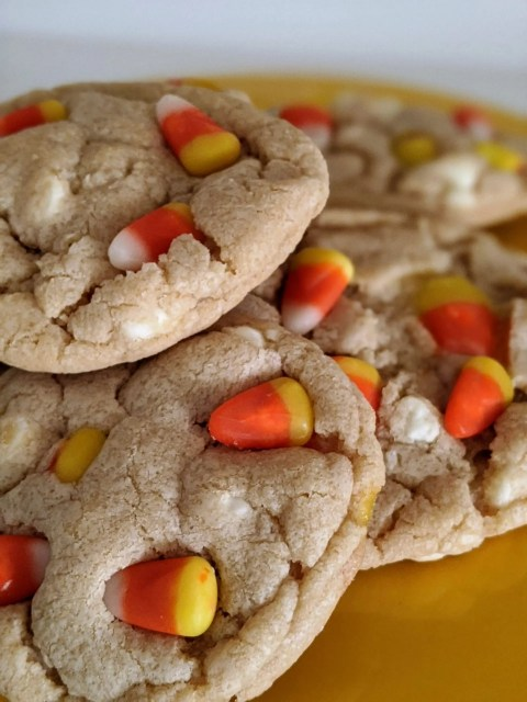 Halloween cookies filled with candy corn and white morsels
