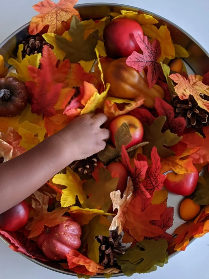 toddler having fun with autumn sensory activity
