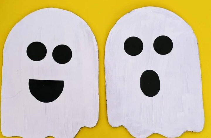 easy cardboard ghost for Halloween