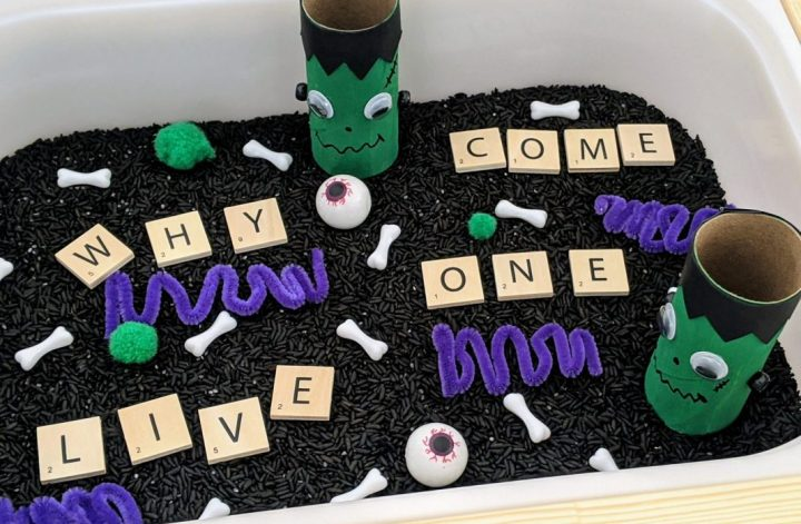 Frankenstein sensory bin for Halloween