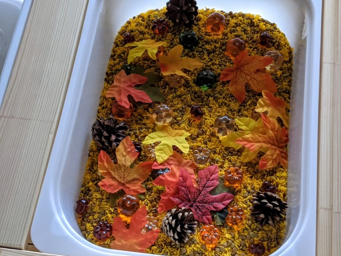 easy fall sensory bin that includes artificial leaves, pine corns and acrylic pumpkins and acorns