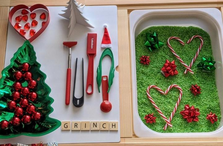 Grinch sensory bin for Christmas