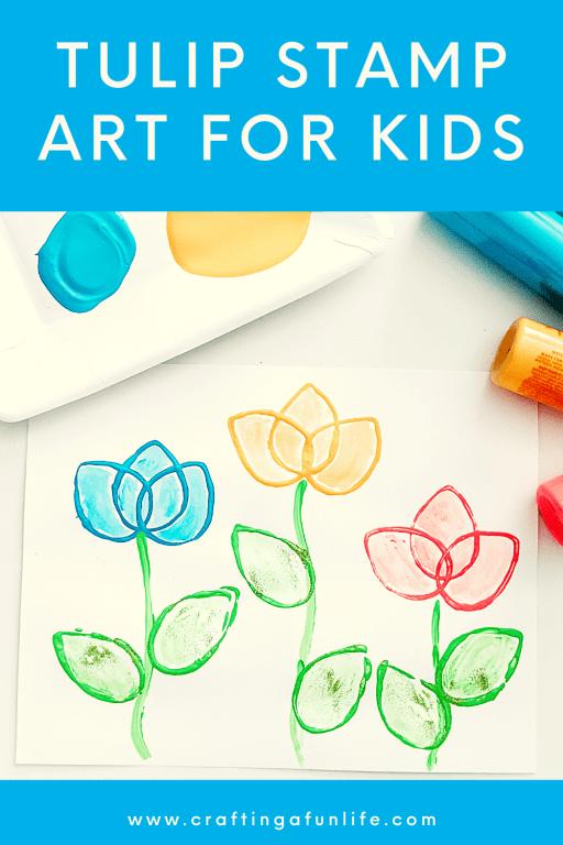 beautiful tulip stamp art for kids