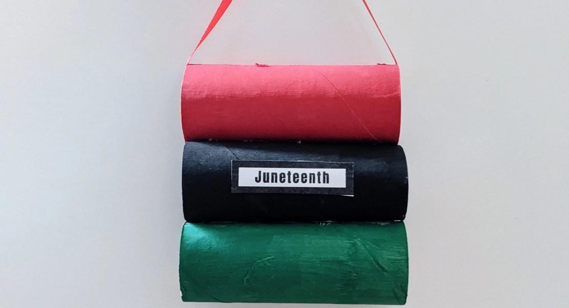Juneteenth toilet paper roll craft