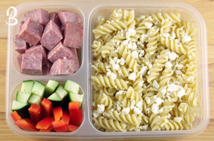 lunch pasta para la escuela