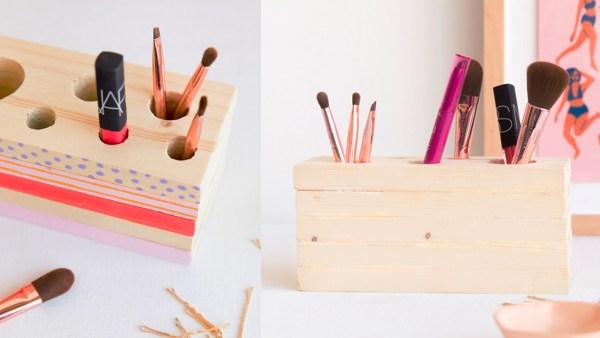 Esta caja de madera organizara todos tu utensilios de maquillaje, le dará un toque organizado y colorido | This wooden box will organize all your Makeup Tools