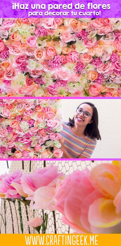 como decorar una pared de flores