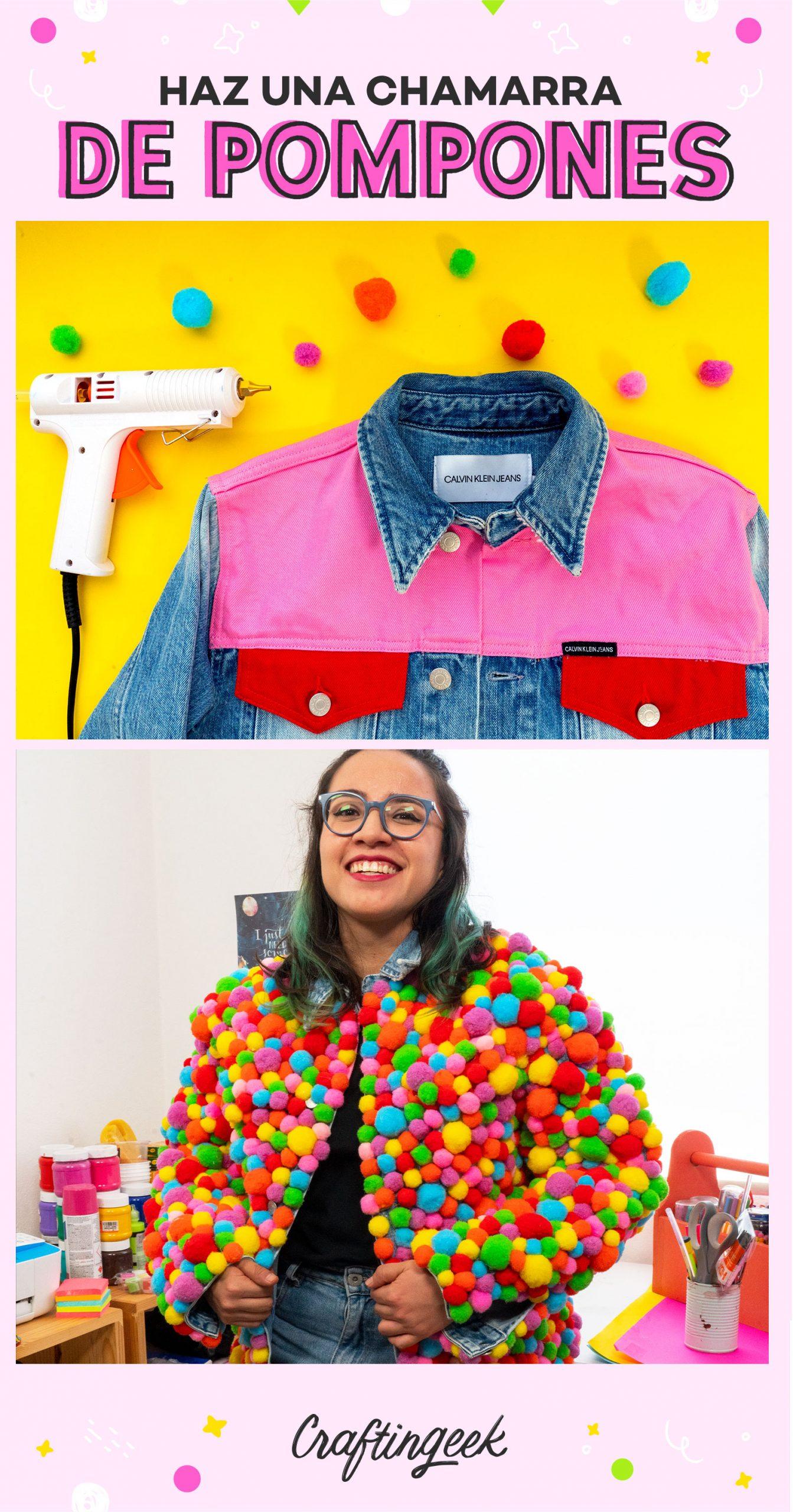 Transformación de ropa con pompones de colores. Te enseño cómo decorar ropa con pompones coloridos.