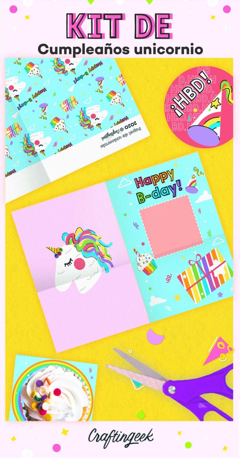 Kit descargables para fiestas de cumpleaños de unicornio