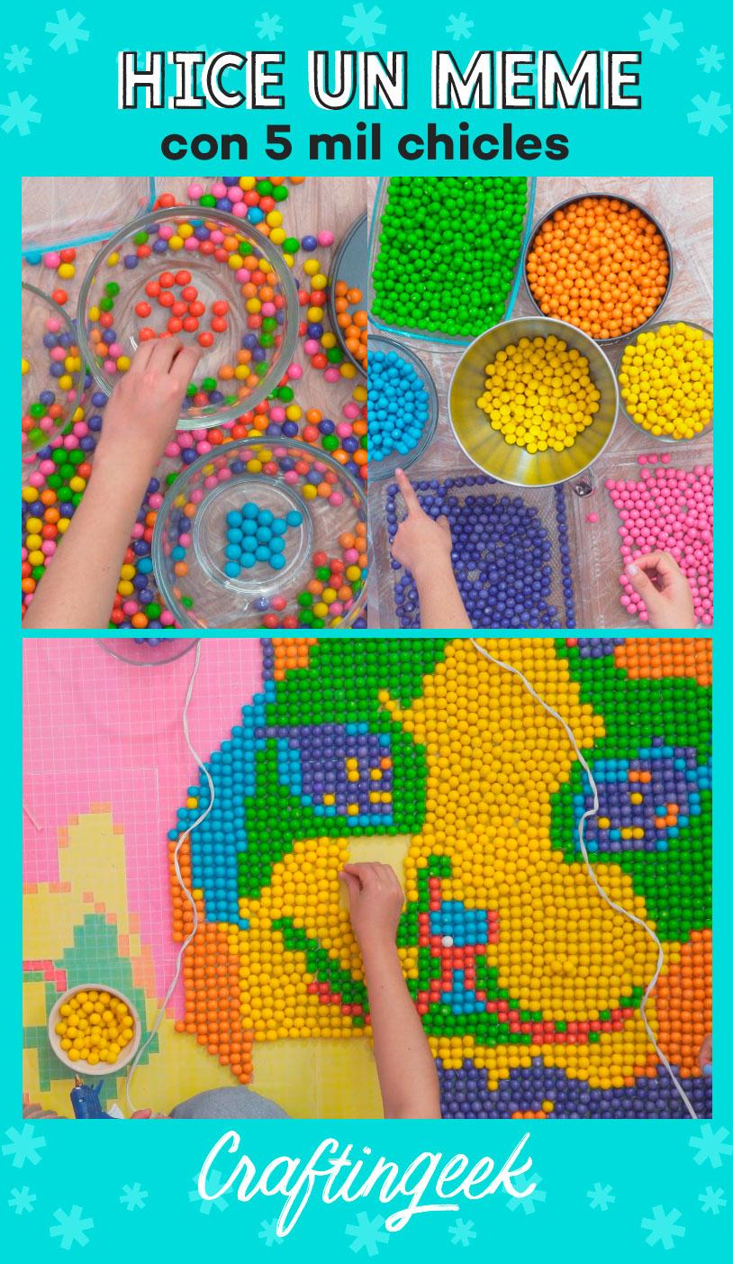 como hacer un cuadro gigante de pixel art con chicles de colores
