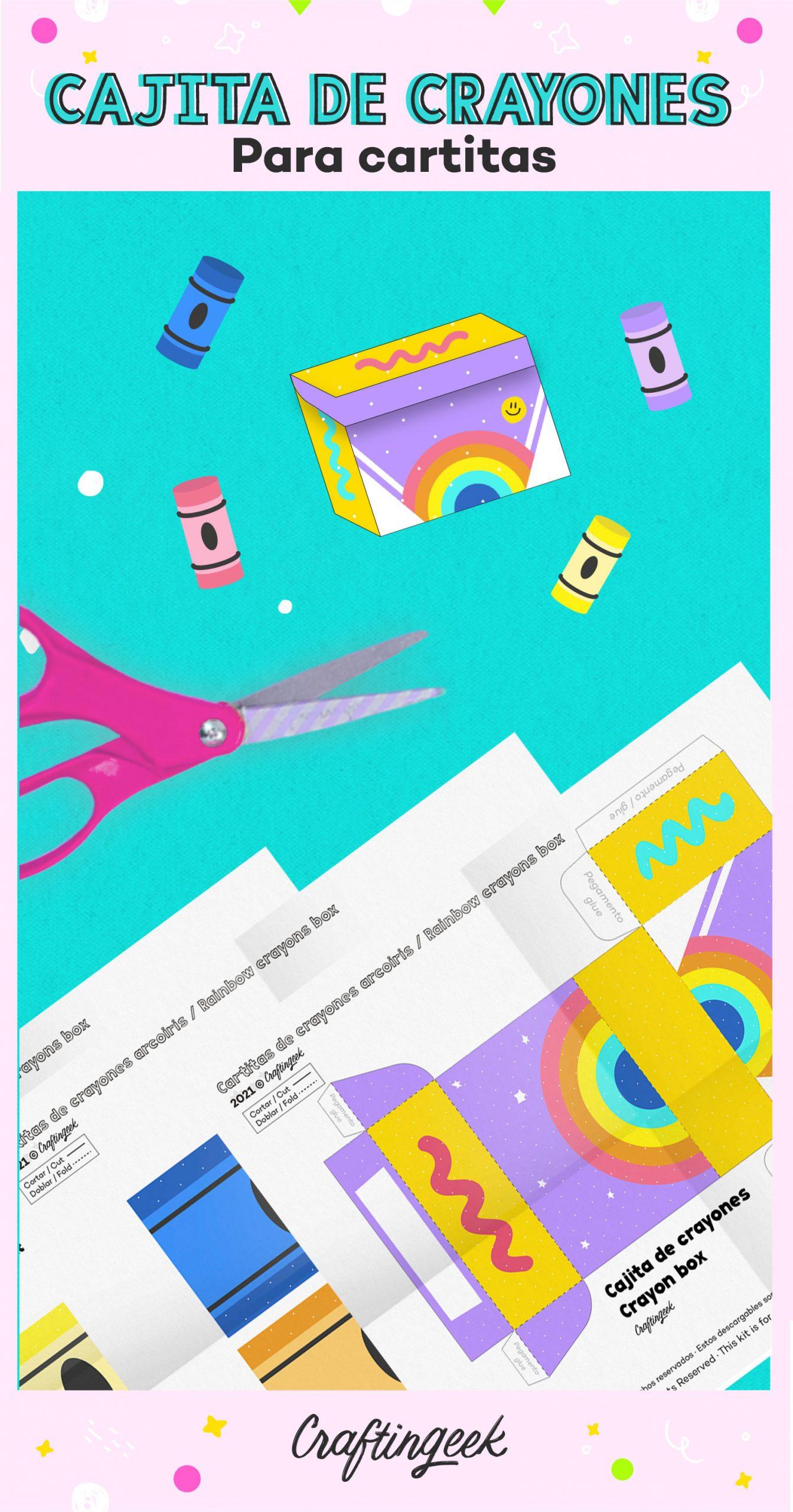 Descargable de caja de regalo decorada de cartitas de crayones para tu mejor amiga o amigo, novia o novio amante de los crayones.