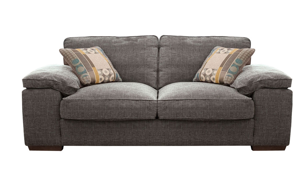 Chunky grey upholstered sofa perfect for an industrial living room furniturechoice.co.uk