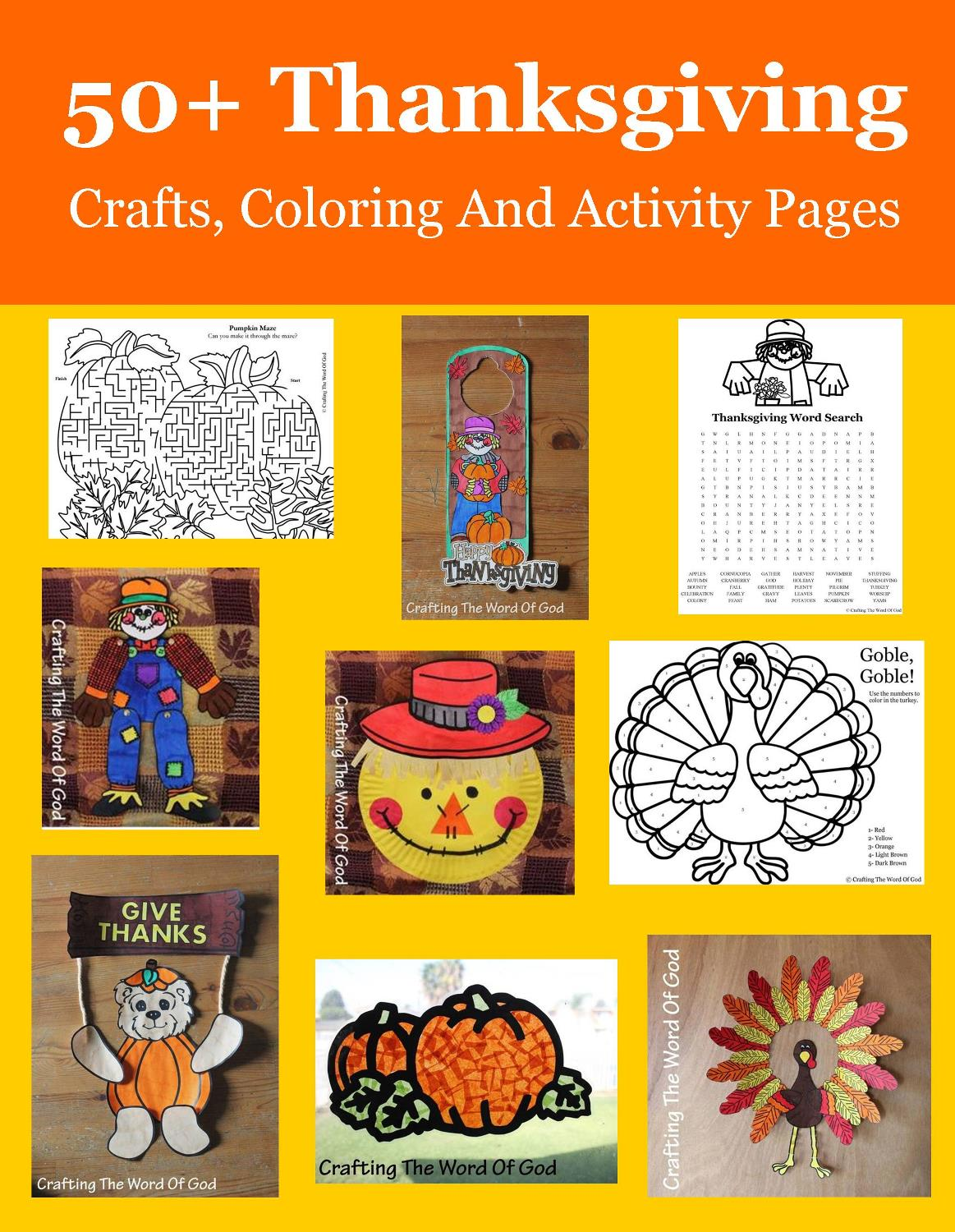 50 Thanksgiving Crafts Coloring And Activity Sheets Crafting The Word Of God