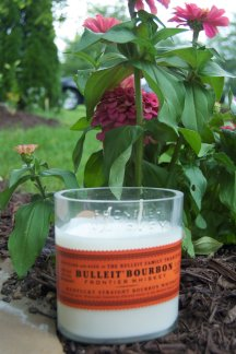 Booze bottles make candles from The Small Batch Candle Company