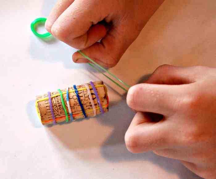 We try printing with loom bands - a great way to make your own wrapping paper, and a fun holiday activity for kids