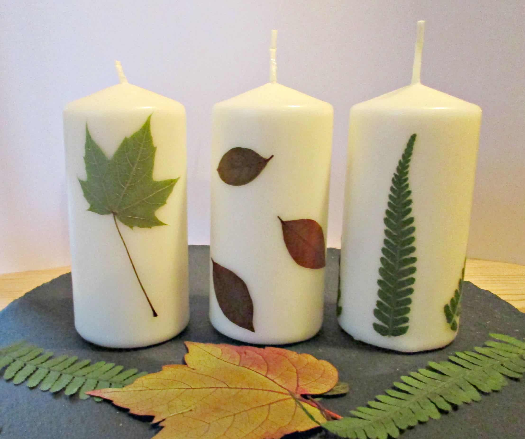 How To Decorate Candles With Pressed Leaves Craft Invaders