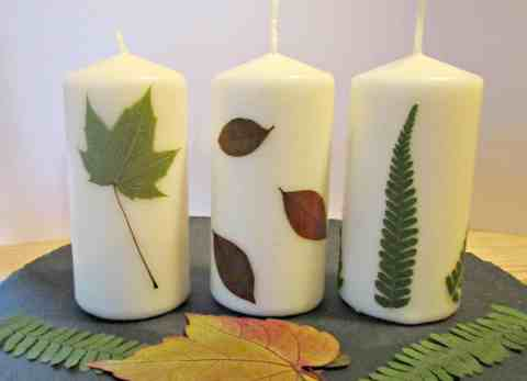 This tutorial shows you how to press autumn leaves and then easily apply them to a candle with beautiful results. Perfect craft for families.