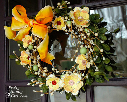 seasonal paper flower wreath