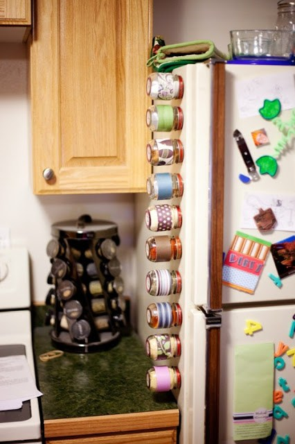 wall mounted spice rack with spices