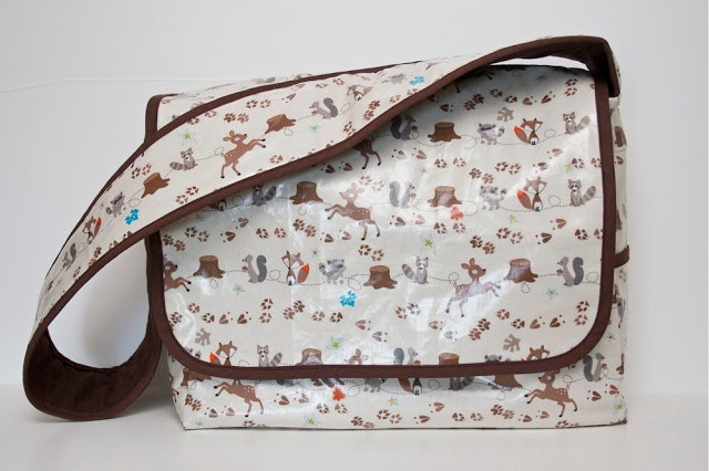 laminated messenger bag