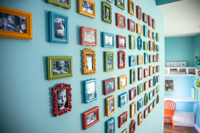 DIY colorful gallery wall