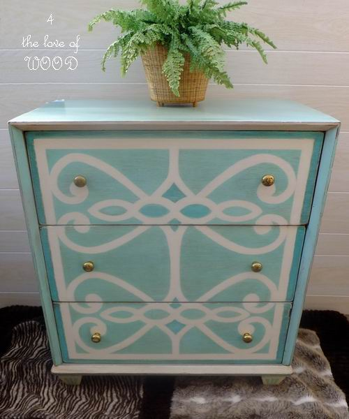 turquoise-and-white-painted-stenciled-dresser