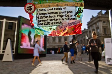 A mini protest banner London Fashion Week September 2012