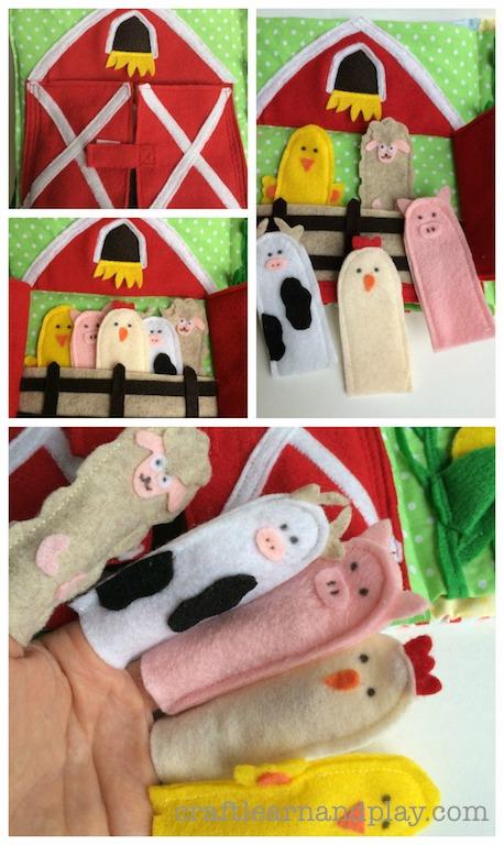 Farm Animals Finger Puppets Quiet Book