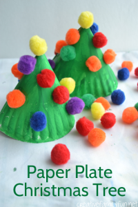 Easy to make paper plate Christmas tree decorated with pom-poms