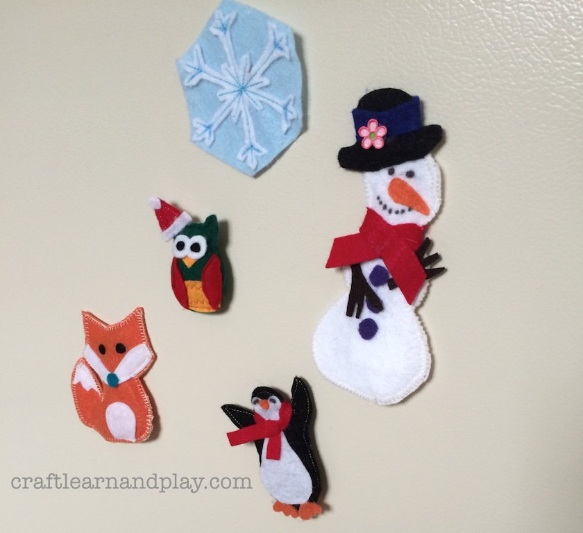diy winter magnets for toddler