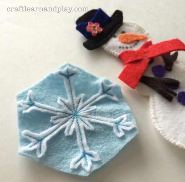 homemade winter magnets snowflake and snowman