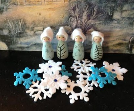 winter peg dolls