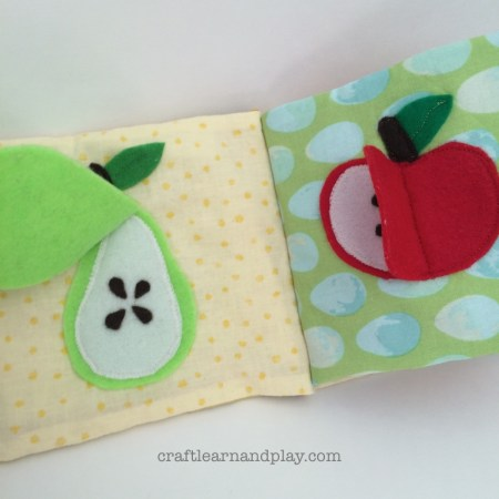 felt flap apple and pear fruit in baby activity book