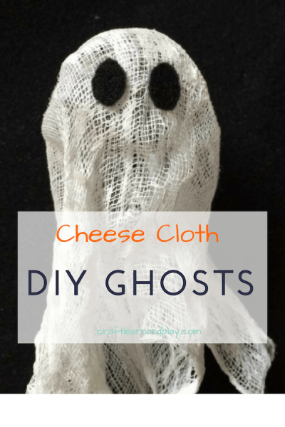 Cheese cloth ghost craft tutorial ideal for kids and spooky time of the year. If you are looking for Halloween crafts this is a great idea for kids of any age. Click for tutorial. #halloween #ghosts #ghostcraft #DIYghost #halloweencrafts #kidscrafts #kidsactivities