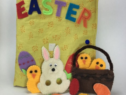 Easter quiet book activities and felt finger puppets in a quiet book