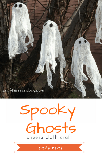 Ghost craft for kids made of cheese cloth. This is a simple project you can do with kids and make neat halloween decorations. Click for tutorial. #kidcrafts #halloweencrafts #cheesecloth #crafts #halloween #ghostcrafts #DIYghosts #Halloweendecoration #halloweenkids